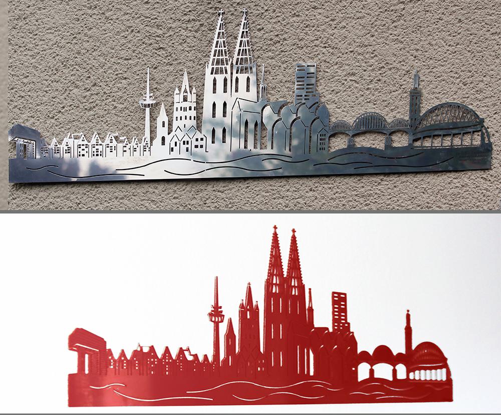 BCK Köln-Panorama ohne und mit Pulverlack